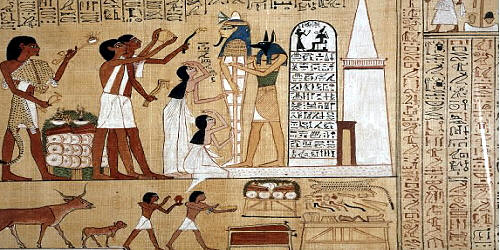 Scene of the Opening of the Mouth ceremony, from the papyrus of Hunefer